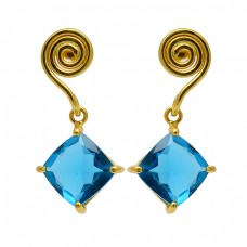 Stylish Designer Blue Quartz Square Shape Gemstone Gold Plated Stud Earrings