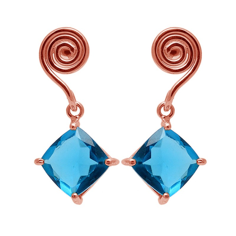 Stylish Designer Blue Quartz Square Shape Gemstone Gold Plated Stud Earrings