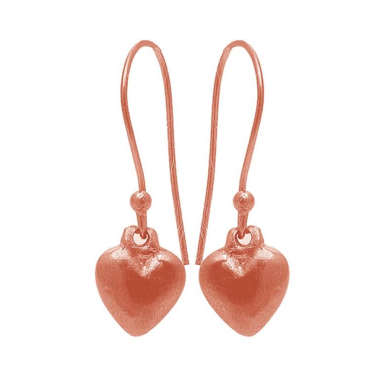 Heart Shape Plain Handmade Designer 925 Sterling Silver Black Rhodium Earrings