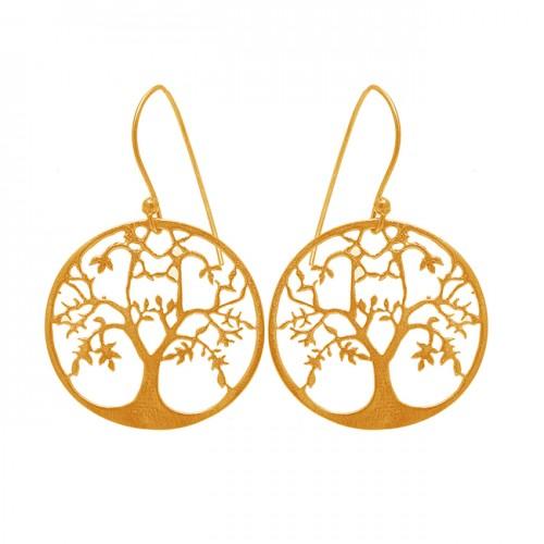 Plain Tree Shape Designer Handmade Black Rhuthenium Dangle Earrings