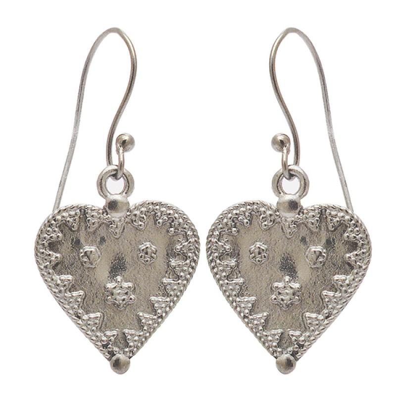 925 Sterling Silver Heart Shape Plain Designer Black Rhodium Dangle Earrings