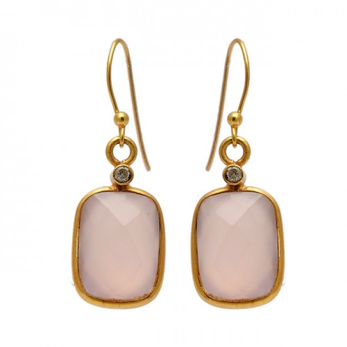 Cushion Round Shape Gemstone 925 Sterling Silver Gold Plated Dangle Earrings