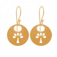 Tree Shape Designer Plain Silver Handcrafted Black Rhuthenium Dangle Earrings