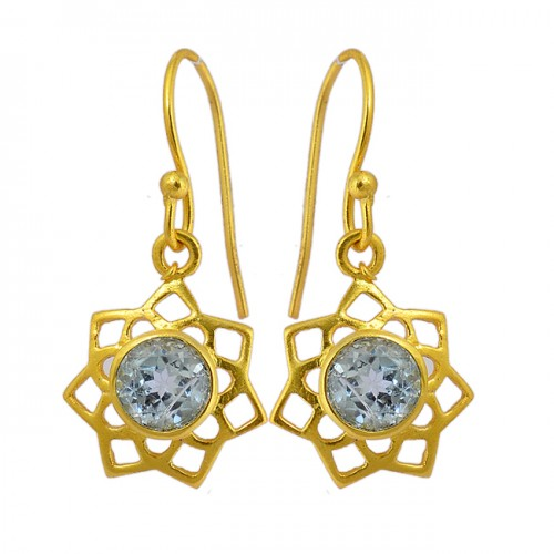 925 Sterling Silver Blue Topaz Round Shape Gemstone Gold Plated Filigree Style Earrings