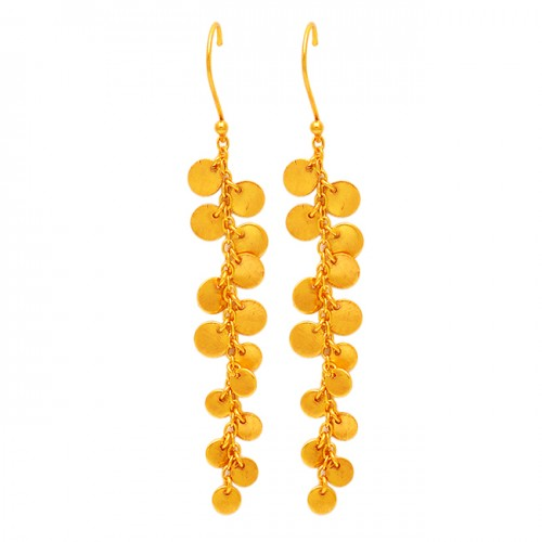Handcrafted Designer Plain 925 Sterling Silver Dangling Gold Plated Earrings