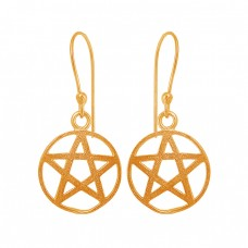 Star Shape Designer Plain Silver Black Rhuthenium Dangling Earrings