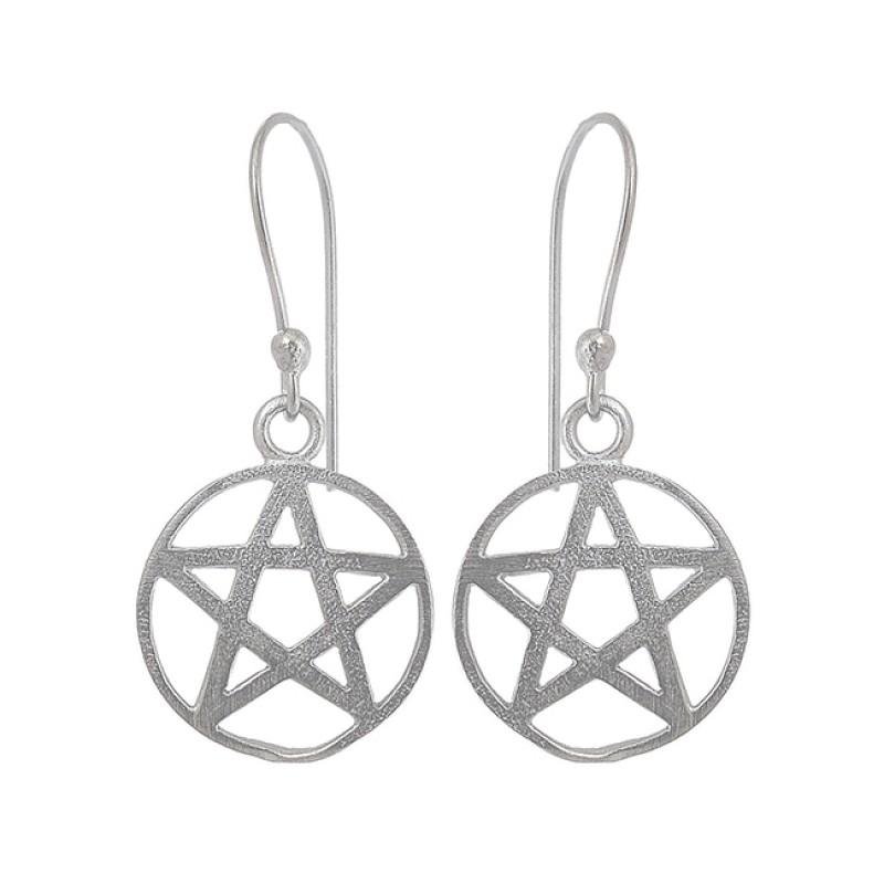 Star Shape Designer Plain Silver Black Rhuthenium Dangling Earrings