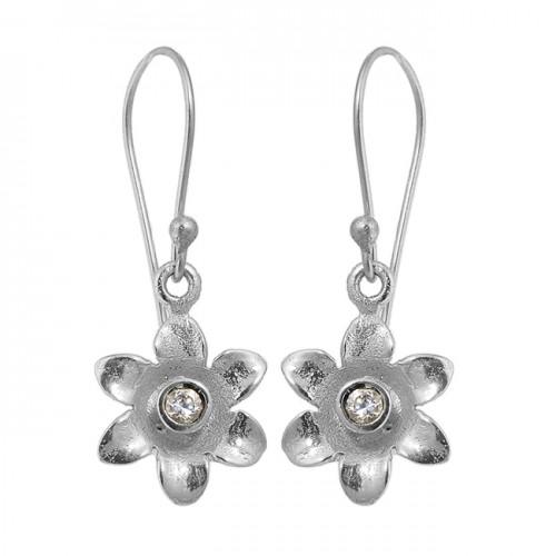 Flower Shape Handmade Designer Crystal Quartz Gemstone Gold Plated Dangle Earrings