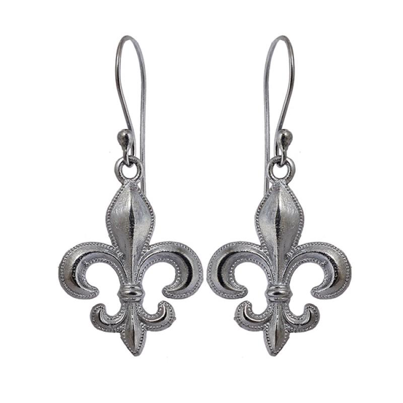 Latest Handcrafted Designer Plain Silver Black Rhuthenium Dangle Earrings