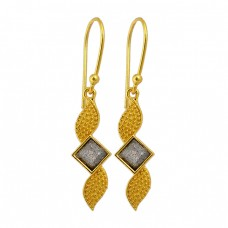 Square Shape Labradorite Gemstone Handcrafted Designer Gold Plated Dangle Earrings
