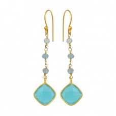 Aqua Chalcedony Gemstone 925 Sterling Silver Gold Plated Handmade Earrings