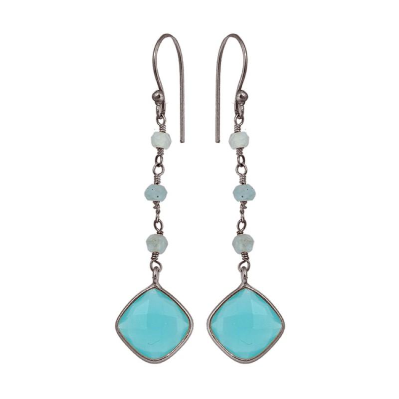 Aqua Chalcedony Gemstone 925 Sterling Silver Gold Plated Handmade Earrings