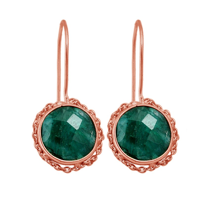 Round Shape Emerald Gemstone 925 Sterling Silver Gold Plated Fixed Ear Wire Earrings