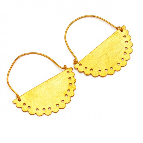 Attractive Plain Designer 925 Sterling Silver Gold Plated Hoop Earrings