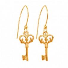 925 Sterling Silver Key Designer Plain Black Rhodium Dangle Earrings