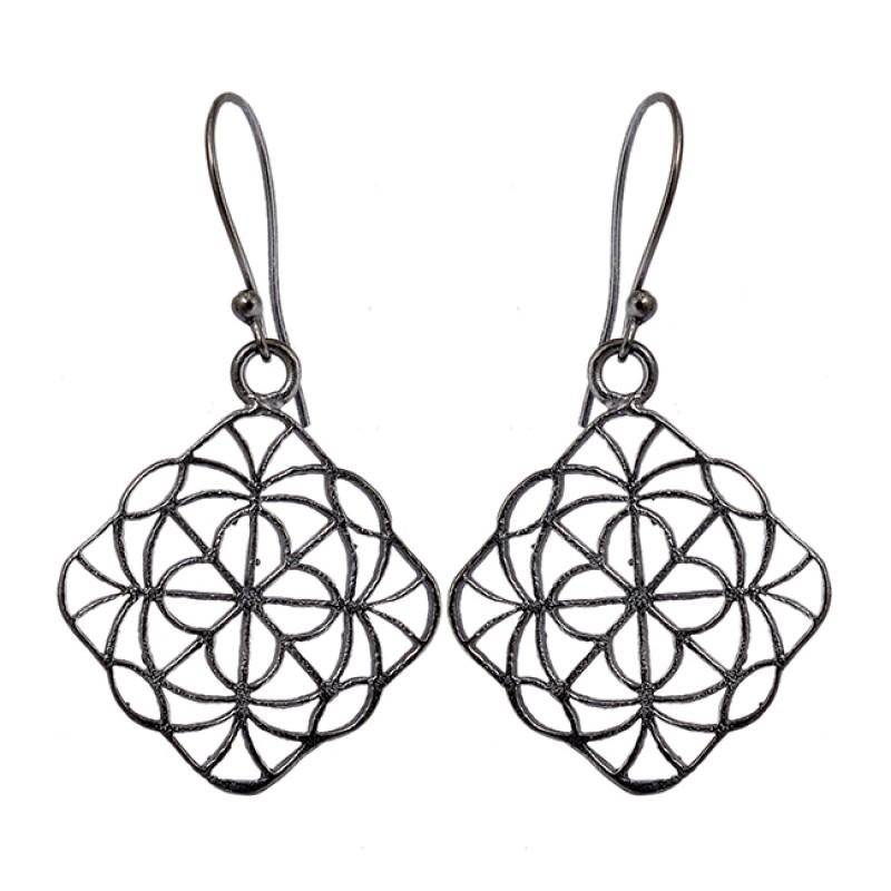 Plain Filigree Style Designer Handmade Black Rhuthenium Dangle Earrings