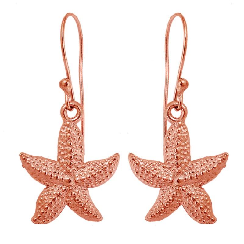 Stylish Designer Star Shape Plain 925 Sterling Silver Handmade Dangle Earrings