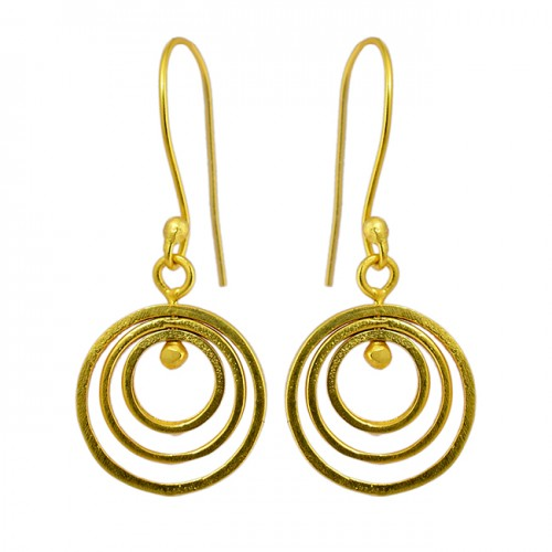 925 Sterling Silver Plain Silver Handcrafted Designer Gold Plated Dangle Earrings