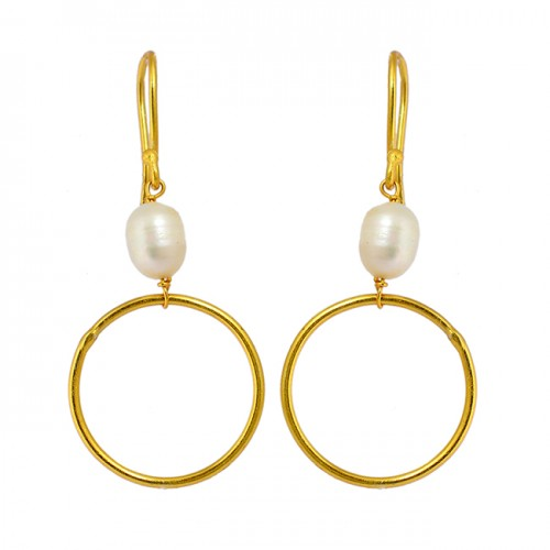 Designer Pearl Oval Shape Gemstone 925 Sterling Silver Gold Plated Dangle Earrings