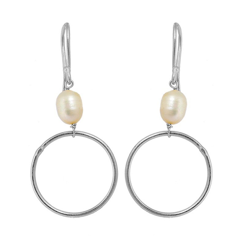 Designer Pearl Oval Shape Gemstone 925 Sterling Silver Gold Plated Dangle Earrings