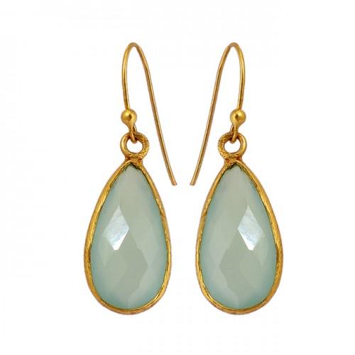 Bezel Setting Aqua Chalcedony Gemstone 925 Sterling Silver Gold Plated Earrings