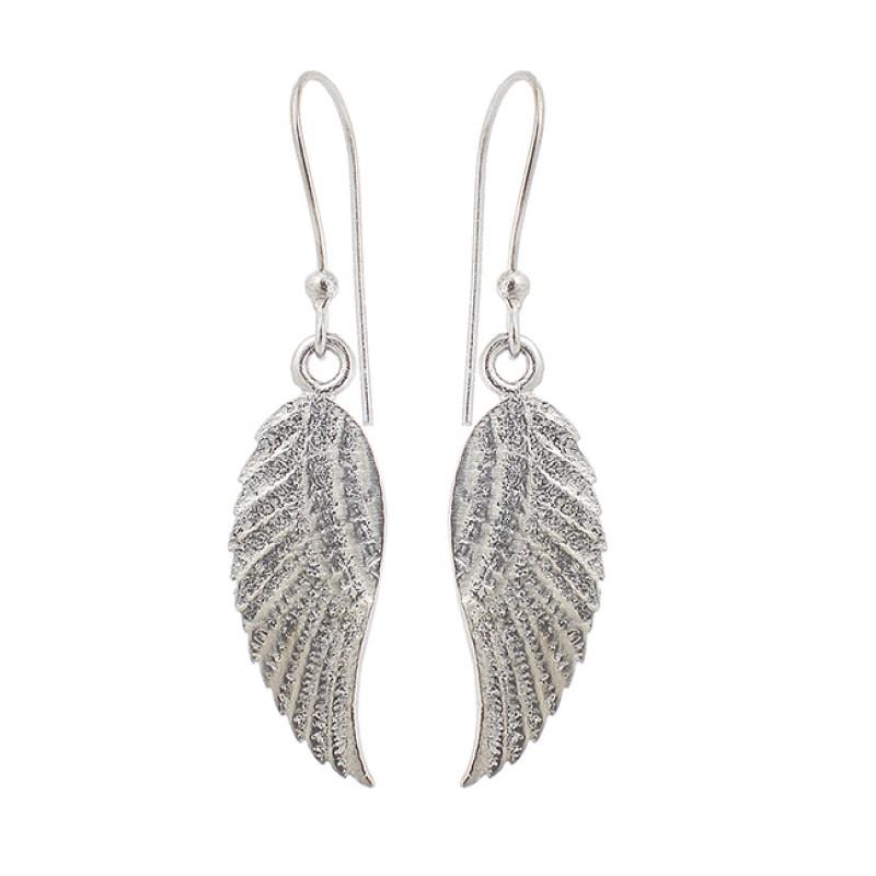 Leaf Designer Plain 925 Silver Handcrafted Black Rhuthenium Dangle Earrings