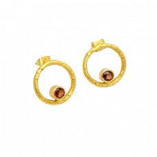 Garnet Round Shape Gemstone 925 Sterling Silver Gold Plated Stud Earrings