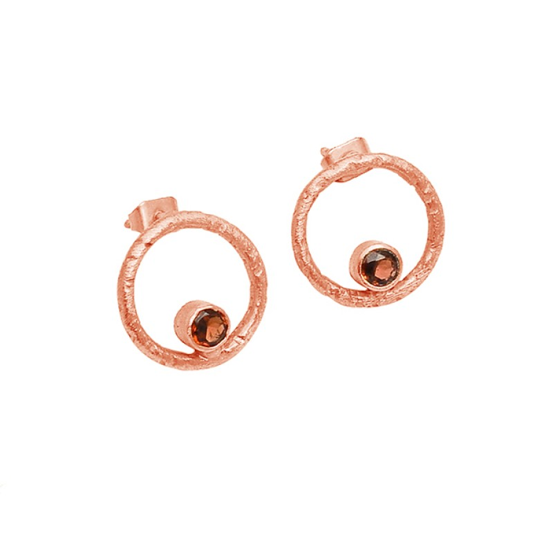 Garnet Round Shape Gemstone 925 Sterling Silver Gold Plated Stud Earrings