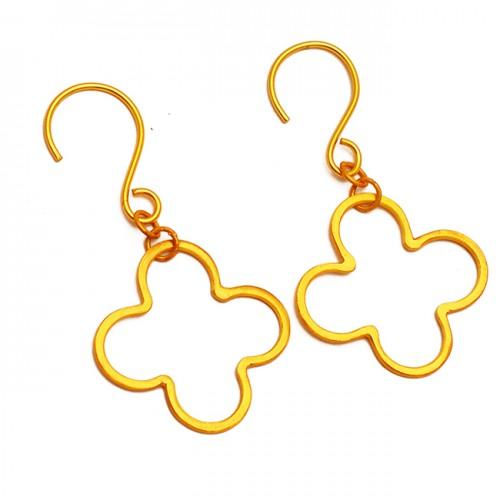 925 Sterling Silver Stylish Plain Designer Gold Plated Handmade Plain Dangle Earrings