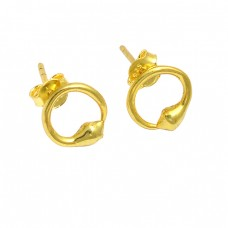 925 Sterling Silver Plain Handmade Designer Gold Plated Stud Earrings