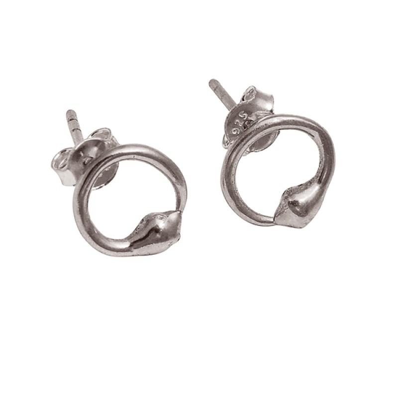 925 Sterling Silver Plain Handmade Designer Gold Plated Stud Earrings