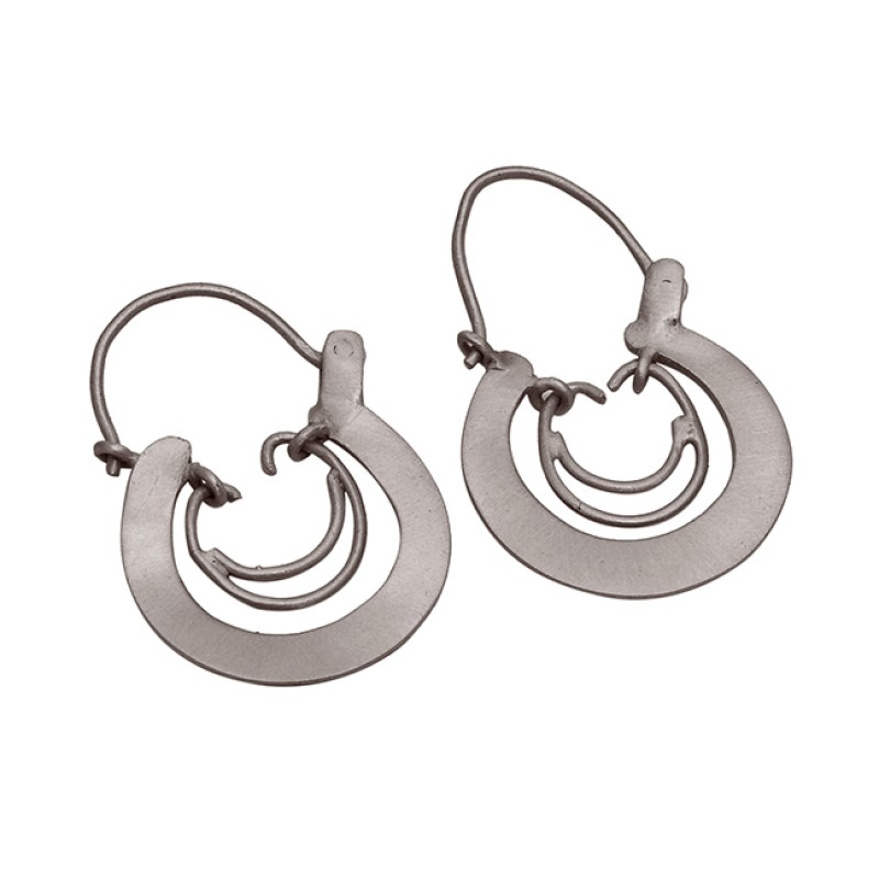 Handcrafted Designer Plain 925 Sterling Silver Gold Plated Hoop Earrings