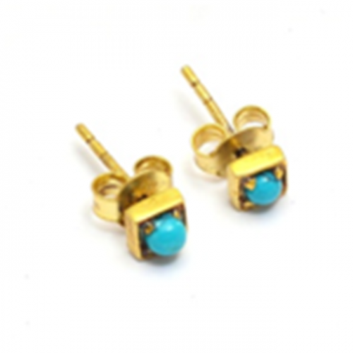 Round Cabochon Turquoise Gemstone 925 Sterling Silver Gold Plated Stud Earrings