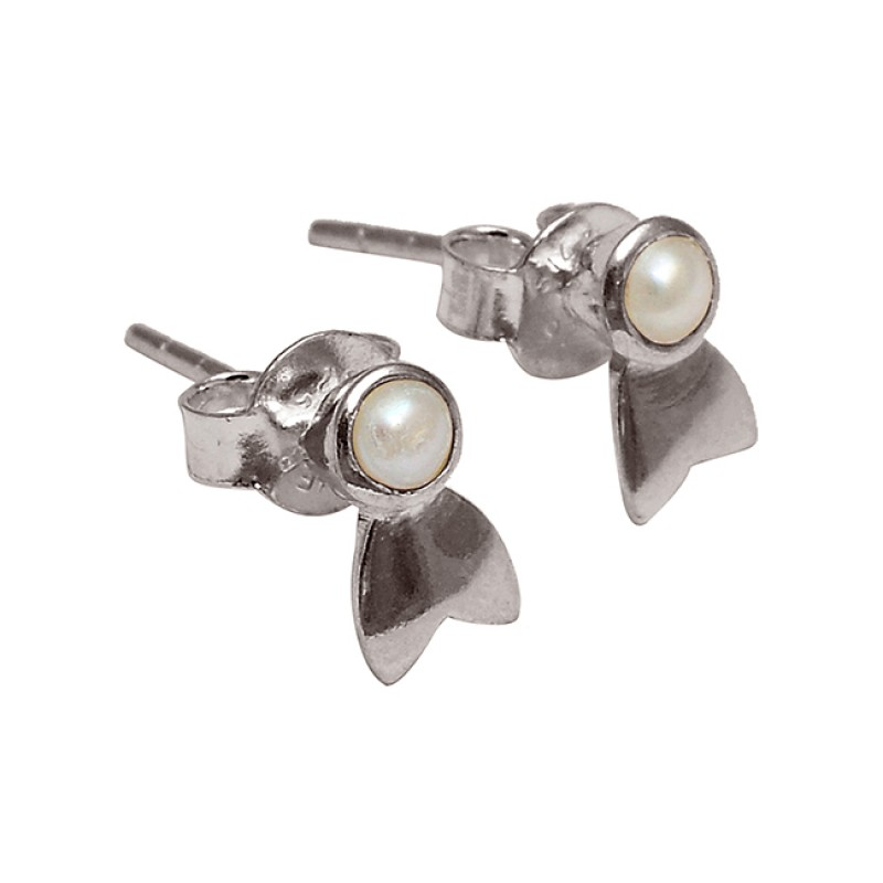 Pearl Round Shape Gemstone 925 Sterling Silver Handmade Designer Stud Earrings