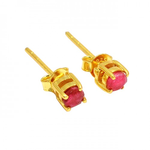 925 Sterling Silver Round Shape Ruby Gemstone Gold Plated Stud Earrings