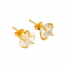925 Sterling Silver Herkimer Diamond Rough Gemstone Gold Plated Stud Earrings