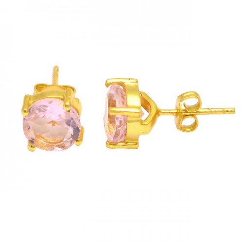 Pink Quartz Round Shape Gemstone 925 Sterling Silver Gold Plated Stud Earrings