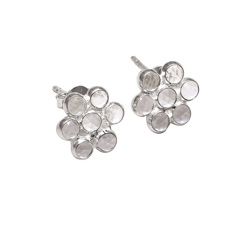 Rainbow Moonstone Round Shape Gemstone 925 Sterling Silver Stud Earrings