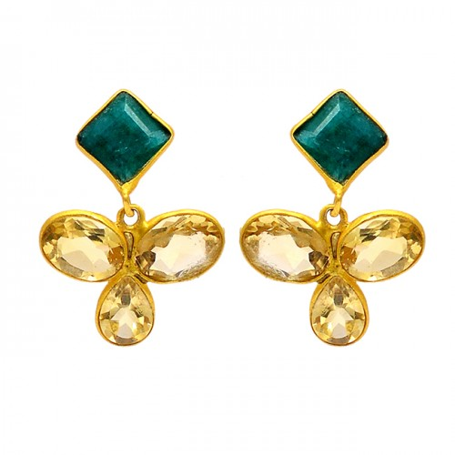925 Sterling Silver Emerald Cubic Zirconia Gemstone Gold Plated Stud Earrings
