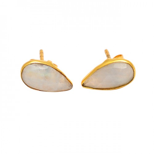 Pear Shape Rainbow Moonstone 925 Sterling Silver Gold Plated Stud Earrings