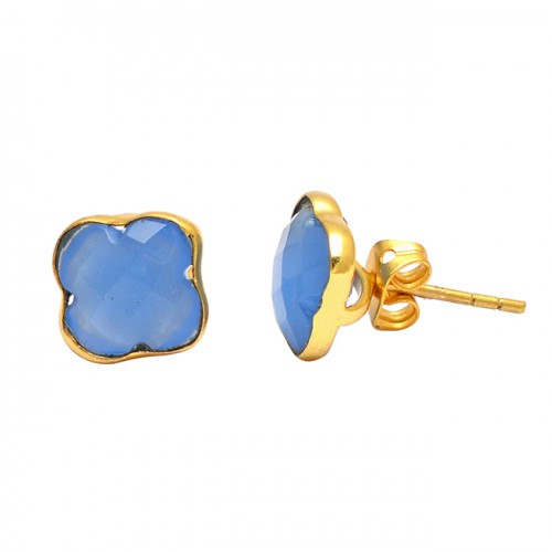 Carved Flower Blue Chalcedony Gemstone 925 Sterling Silver Gold Plated Earrings