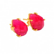 Prong Setting Pear Shape Ruby Gemstone 925 Sterling Silver Gold Plated Earrings