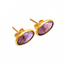 Oval Shape Amethyst Gemstone 925 Sterling Silver Gold Plated Stud Earrings