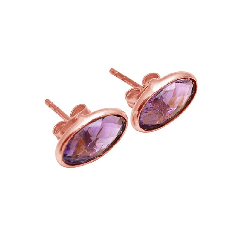Oval Shape Amethyst Gemstone 925 Sterling Silver Gold Plated Stud Earrings