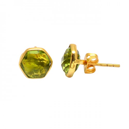Hexagon Shape Peridot Gemstone 925 Sterling Silver Gold Plated Stud Earrings