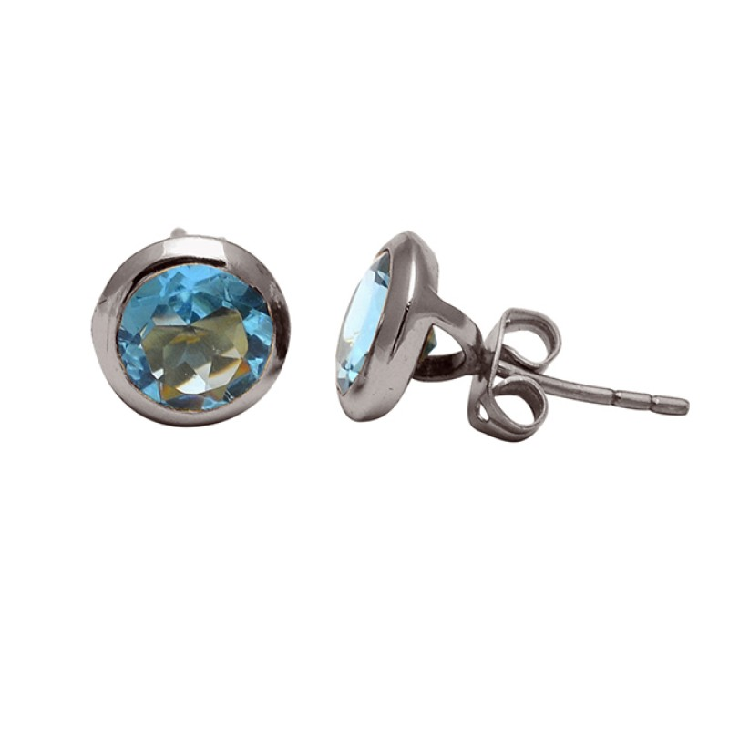 Round Shape Blue Topaz Gemstone 925 Sterling Silver Gold Plated Stud Earrings