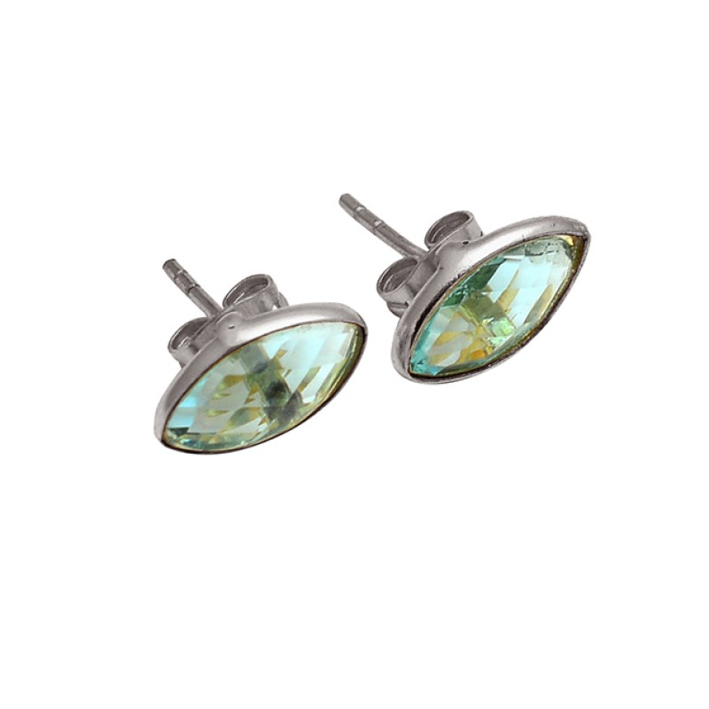 Blue Topaz Marquise Shape Gemstone 925 Sterling Silver Gold Plated Stud Earrings