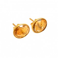 Oval Shape Citrine Gemstone 925 Sterling Silver Gold Plated Handmade Stud Earrings