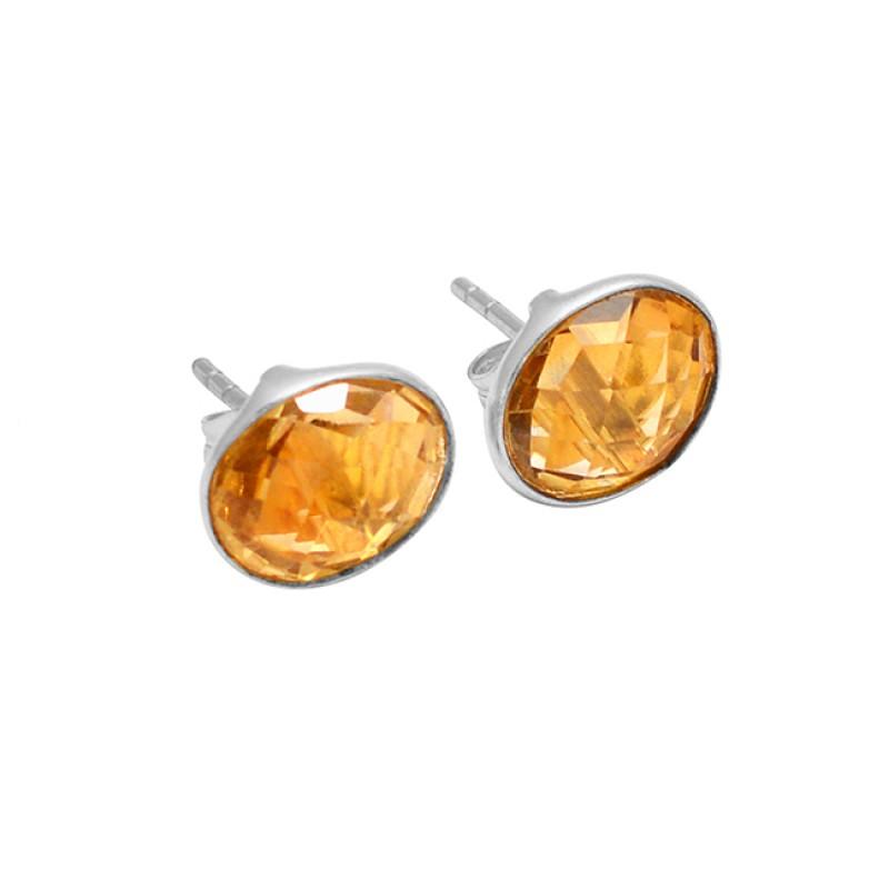 Oval Shape Citrine Gemstone 925 Sterling Silver Gold Plated Handmade Stud Earrings