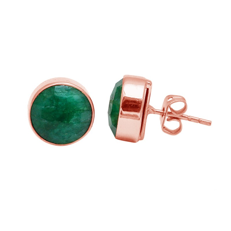 925 Sterling Silver Emerald Round Shape Gemstone Gold Plated Stud Earrings